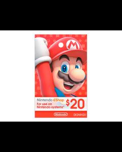 Tarjeta Nintendo Eshop de $20