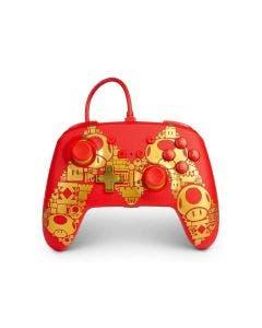 Control Nintendo Switch PowerA Controller Mario Golden M Rojo Alámbrico