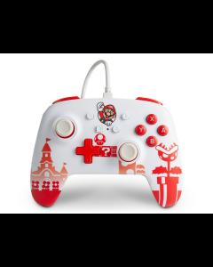 Control Nintendo Switch PowerA Controller Mario Alámbrico Blanco y Rojo