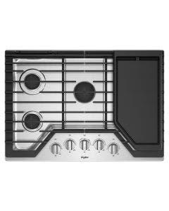 Cooktop a gas de 30'', acabado en acero con plancha incluida, Whirlpool WCG97US0HS.